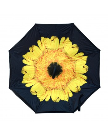 Yellow Flower Double Layered Inverted Print Umbrellas with C Handle