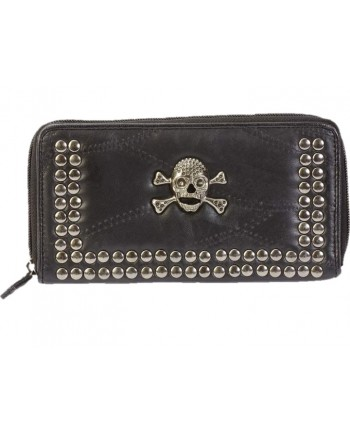 Ladies Leather Wallet with Skulls