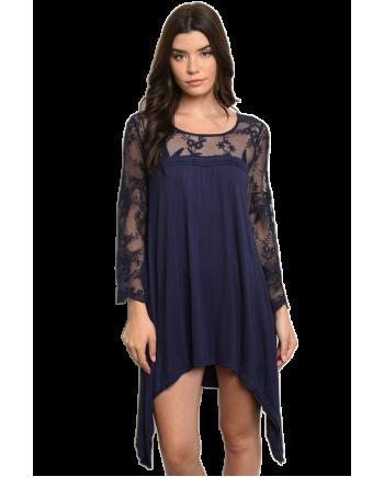 Navy Long Lace Sleeve Tunic Dress