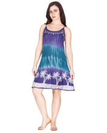 Tie Dye Palm Tree Mini Dress One Size