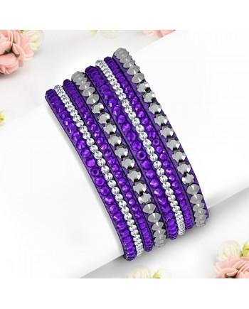 Purple Wrap Bracelet with clear CZ