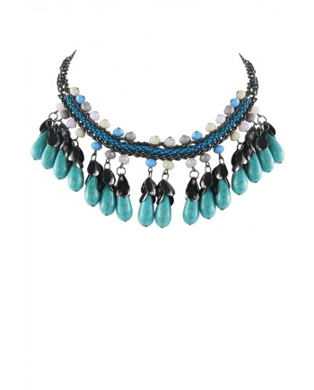 Turquoise Black and Silver Rope Necklace