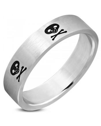 Silver with Black Skull Crossbones Ring