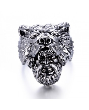 Viking Mountain Man Bear Hat Ring