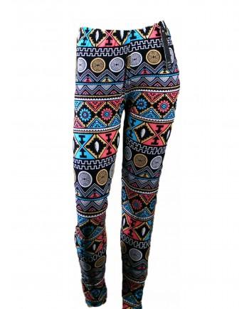 Women's Leggings - Blue Aztec Tribal Print fits sizes 8-18