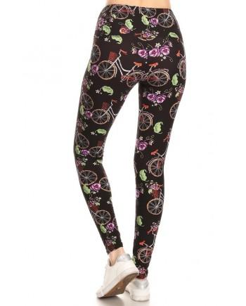 Women's Plus Size Leggings - Bicycle Flowers Print Fits 12-24