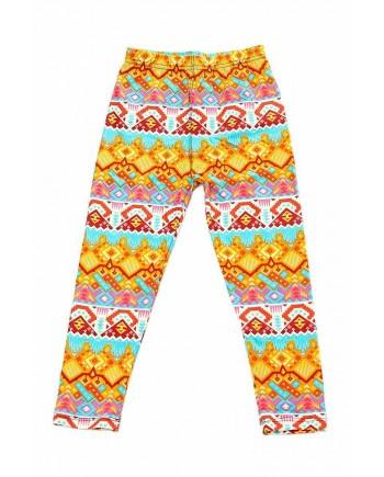 Girls Brushed Leggings Orange Patterned