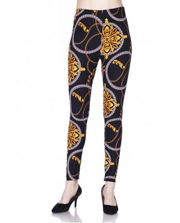 Women's Leggings - Golden Chains Print fits sizes 8-18
