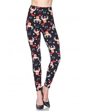 Women's Leggings - Santa Hat Reindeer fits sizes 8-18