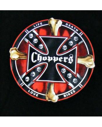 Men's Black T-shirt Choppers Cross Print