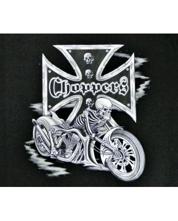 Men's Black T-shirt Choppers Skeleton Print