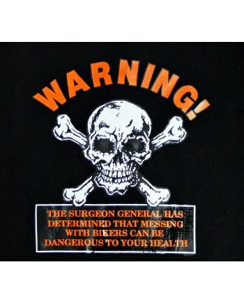 Men's Black T-shirt Warning Print
