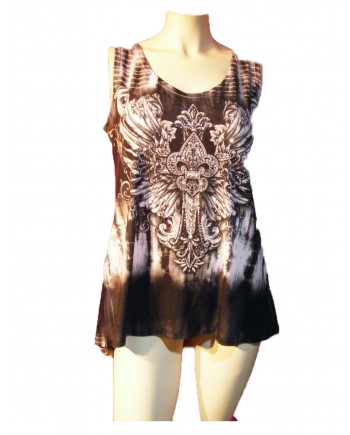 Sleeveless T-shirt Tank Embellished with Fleur de Lis and Wings