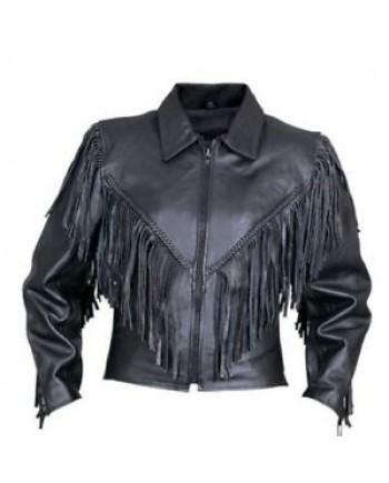 Women's Black Leather Motorcycle  Jacket Size Large