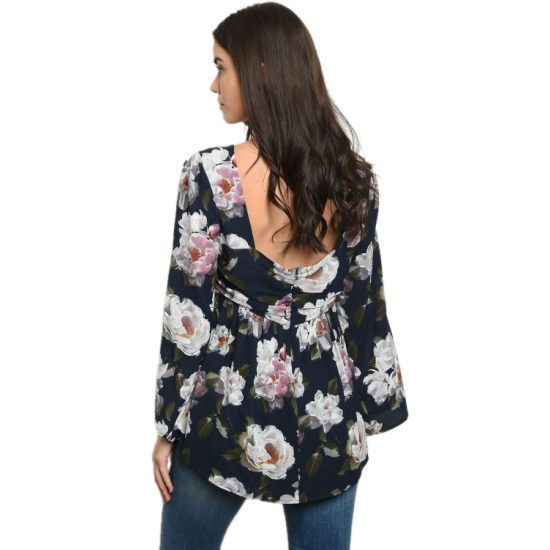 Navy Blue Blousy Tunic with Flowers
