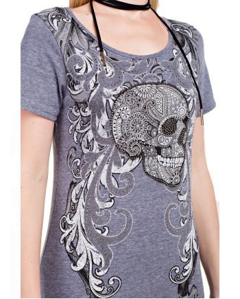 Gray T-shirt Embellished with Rhinestone Skull and Cut Back