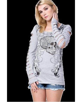 Long Sleeve Embellished Skull T-shirt Slashed Sleeves