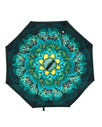 Peacock Pattern Double Layered Inverted Print Umbrellas with C Handle