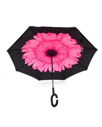Pink Flower Double Layered Inverted Print Umbrellas with C Handle