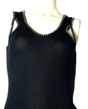 Black Knit Dress with Cutouts and Studs
