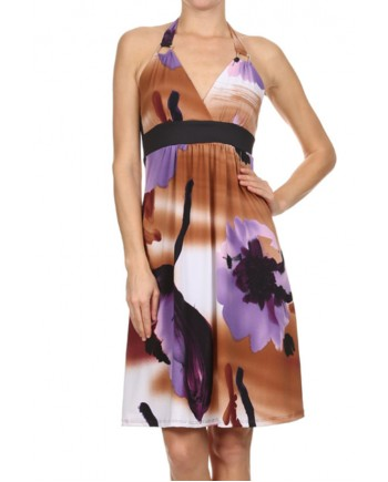 Halter Dress in Purple or Coral
