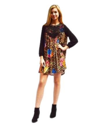 Black Knit Tunic with Animal Print With Flowers