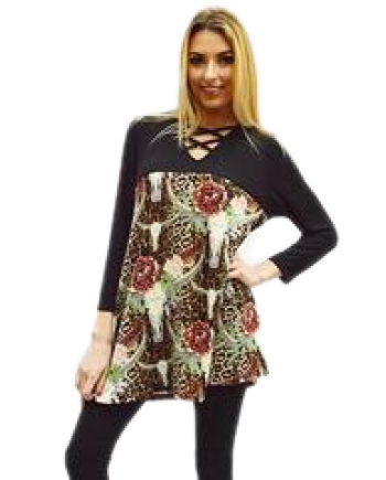 Knit Tunic Dress or Top with a Rose and Steer Western Pattern