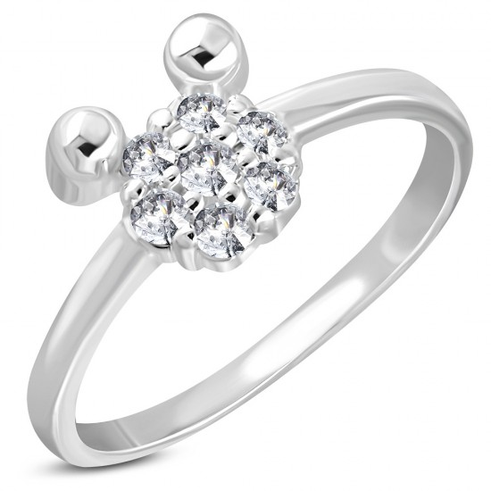 Girl's Silver Plated Mickey Ring
