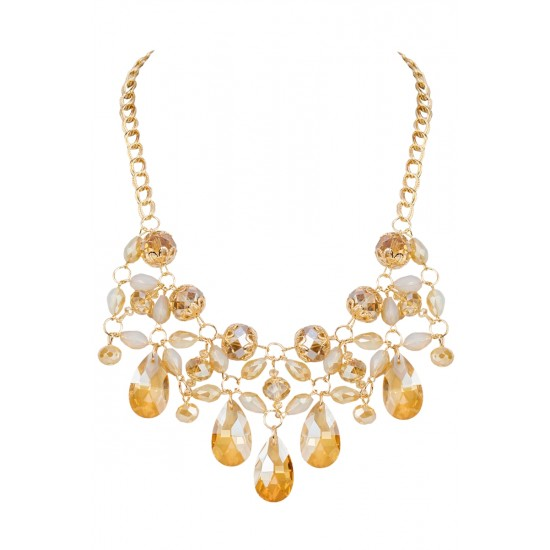 Champagne Colored Crystal Necklace Set