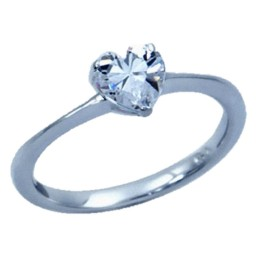 Clear Heart Shaped CZ  Ring Sterling Silver