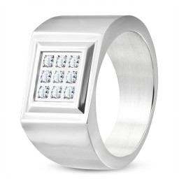 Square CZ Silver Band Ring