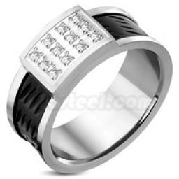 Square CZ Ring Black Silver Band