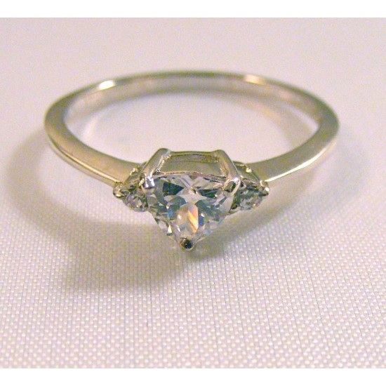 White Trillion CZ Ring Sterling Silver