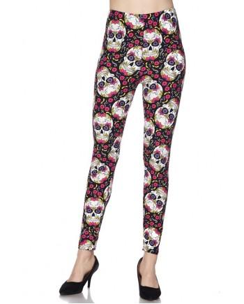 Women's Leggings - Flowers Skull Print fits sizes 8-18
