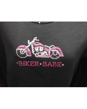 Black Embellished T-shirt Biker Babe
