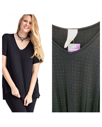 Black Tunic with All Over Rhinestones