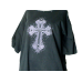 Black Embellished T-shirt Large Cross