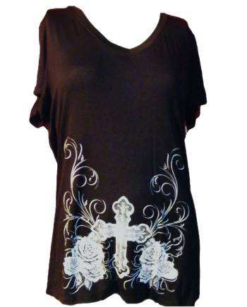 Black T-shirt Embellished with Crosses, Roses, and Wings