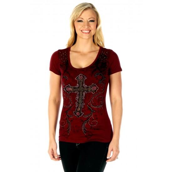 Burgundy Celtic Cross T-shirt