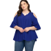 Blue Half Sleeve Cold Shoulder Blouse