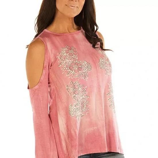 Floral Vines Dusty Rose Cold Shoulder Tunic