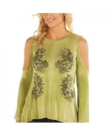 Floral Vines Kale Cold Shoulder Tunic