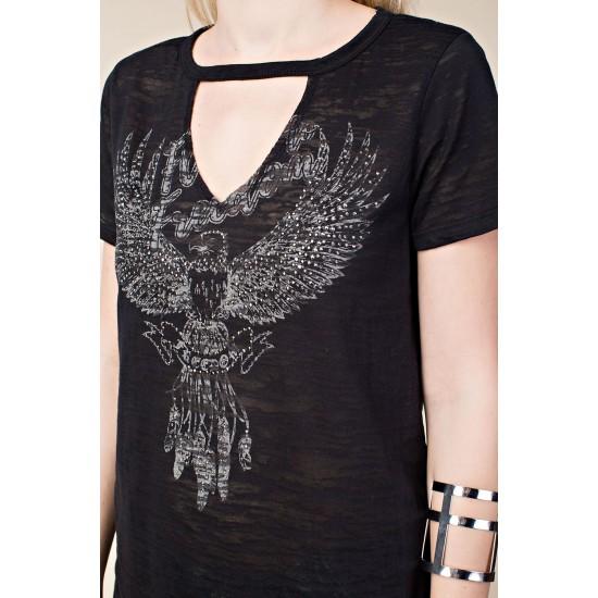 Freedom Embellished T-shirt Black