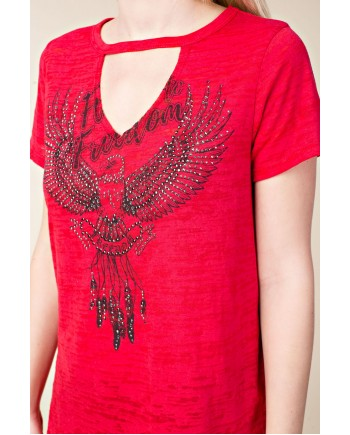 Freedom Embellished T-shirt Red