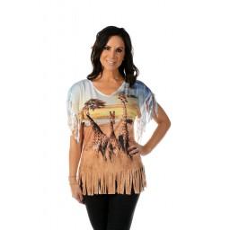 Giraffes on the Savannah Fringe T-shirt