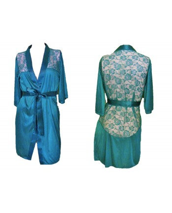 Satiny Robe with Floral Lace Inset Green
