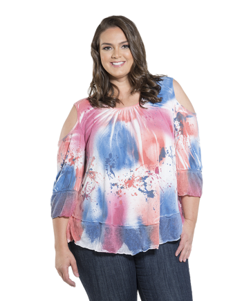 Hand Painted Cold Shoulder Tunic Top