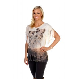 Lion Pride on the Savannah T-shirt with Fringe