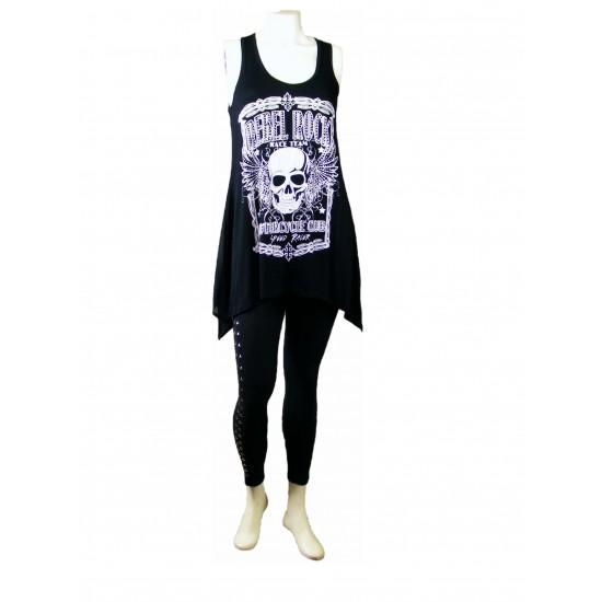 Rebel Rock Tunic Sheer Black Back Plus