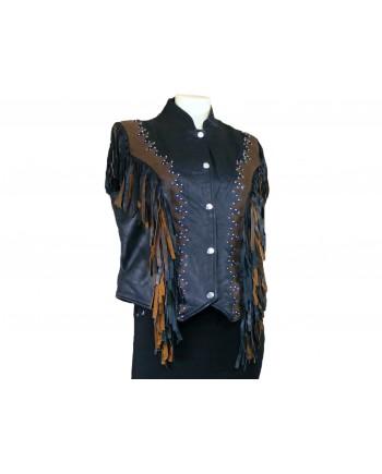 Women's Brown Black Leather Fringe Vest